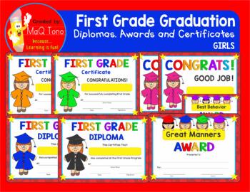 FIRST GRADE GRADUATION GIRL Diplomas Certificates and Awards