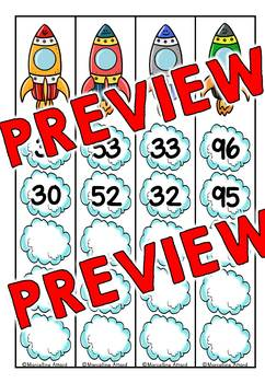 FIRST GRADE MATH (ROCKET MATH COUNTING BACK CENTER) COUNTING BACKWARDS CARDS