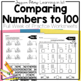 FIRST GRADE Math: Compare Numbers to 100 Practice Worksheets Homework Test