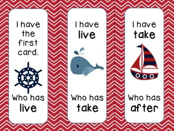 """FIRST GRADE Nautical Theme Dolch """"I have... Who has?"""" game"""