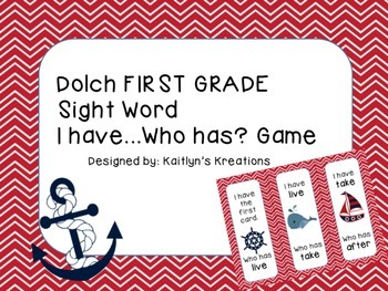 "FIRST GRADE Nautical Theme Dolch ""I have... Who has?"" game"