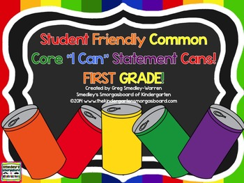 FIRST GRADE Student Friendly  I CAN Statement CANS!  Mustache Included!