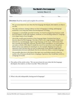 FIRST LANGUAGE: SIGN LANGUAGE—Language and Literature Worksheets and Activities