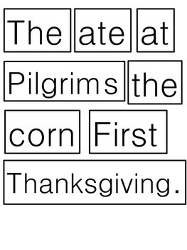FIRST THANKSGIVING CUT AND PASTE WITH PREDICTABLE CHART