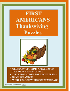 FIRST THANKSGIVING - Puzzles and Glossary