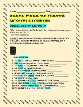 FIRST WEEK OF SCHOOL VOCABULARY ACTIVITY: ANTONYMS & SYNONYMS: ESL/WELCOME BANK!