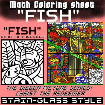 Math Colouring Worksheet (Addition) -Fish