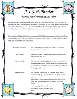 F.I.S.H. Binder Introductory Page