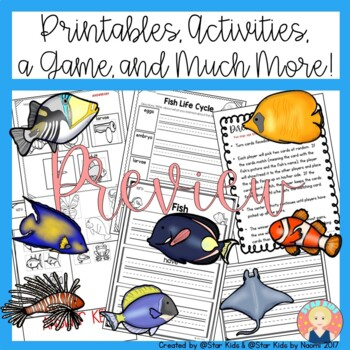 FISH CHARACTERISTICS -Life Cycle, Activities and Printables for K-1