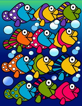 FISH CLIP ART * COLOR AND BLACK AND WHITE