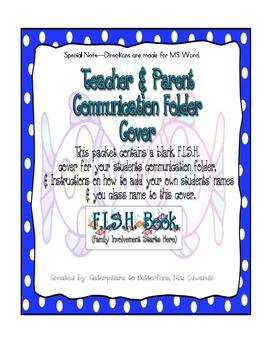 F.I.S.H. Folder- Parent & Teacher Communication Folder