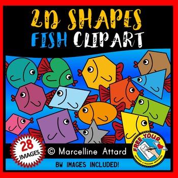 FISH SHAPES CLIP ART: 2D SHAPES FISH