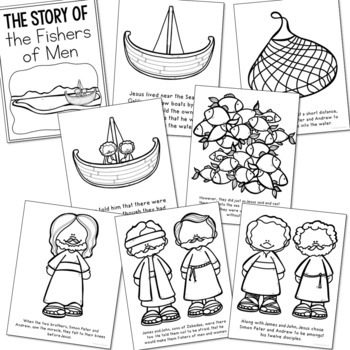 FISHERS OF MEN Bible Story Coloring Pages and Posters, Craft Activity