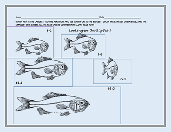 FISHY MATH: ADDITION & COLOR ACTIVITY K & 1