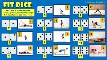 FIT DICE! - Fitness Google Slides - Animated GIFs - Physical Education