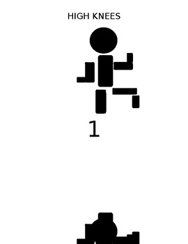 FITNESS BINGO CHALLENGE HIGH KNEES STICK FIGURE