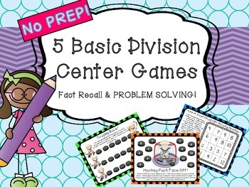 FIVE Division Center Games Problem Solving and Fact Recall