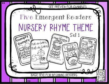 FIVE Emergent Readers - Nursery Rhymes Retold With Dolch Pre-Primer Words-SET 1