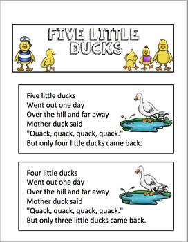 FIVE LITTLE DUCKS POCKET CHART