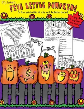 Five Little Pumpkins Clip Art & Printables