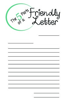 FIVE Parts of a Friendly Letter