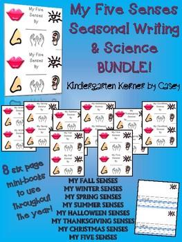 Five Senses Seasonal Science Writing Mini-books BUNDLE - 8 Books  K 1 2