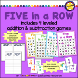 FIVE in a ROW math games