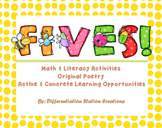 FIVES! Bumblebees Original Poetry: Math and Literacy Activ