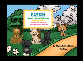 FIVES! Puppies Original Poetry: Math & Literacy, Centers