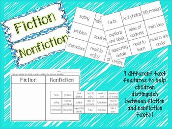 Fiction and Nonfiction Text Features Sort