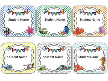 Finding Nemo/Dory Themed Student Name Cards {EDITABLE}