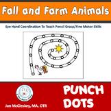Fine Motor Fall and Farm Animal Pokey Dots