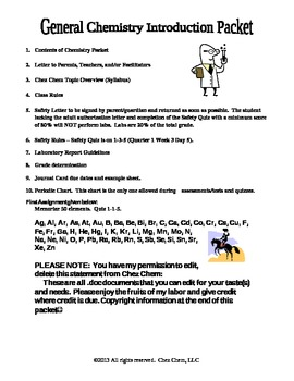 First Day Packet- Chez Chem