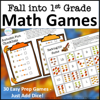 First Grade Fall One Page Math Games
