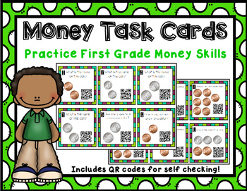 First Grade Money Task Cards with QR Codes