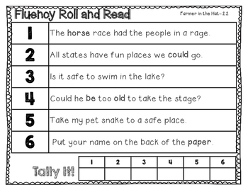 FIrst Grade Reading Street Unit 2 Fluency Roll and Read