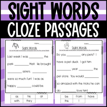 Sight Word Cloze Passages- Fill in the paragraphs with the sight word