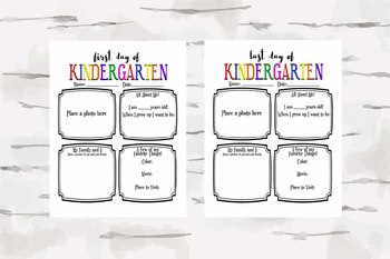 First and Last Day of Kindergarten Activity Sheet, Back to School & End of year