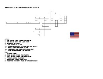 FLAG DAY CROSSWORD PUZZLE WITH ANSWER KEY