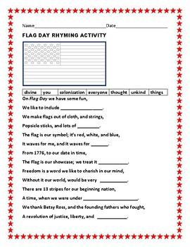 FLAG DAY RHYMING ACTIVITY, GRADES 3-6