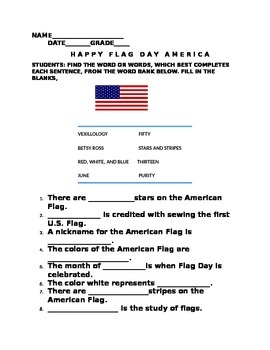 FLAG DAY WORD BANK ACTIVITY WITH ANSWER KEY