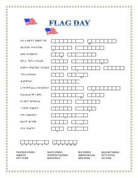 FLAG DAY- Word Search and Double Puzzle with Hidden Message