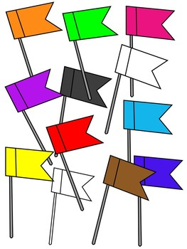 FLAG PUSH PINS CLIPART * COLOR AND BLACK AND WHITE