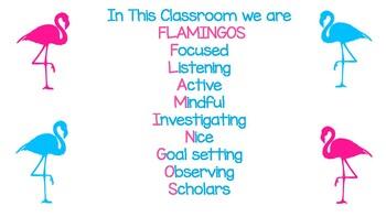 FLAMINGO THEME Classroom Acrostic Poem/Poster