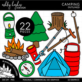 Camping Clipart - Outlined - [Ashley Hughes Design]