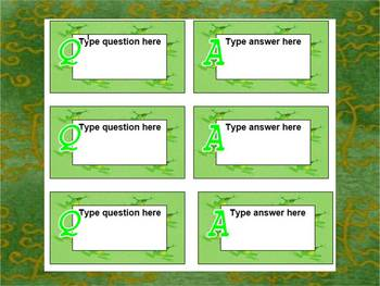FLASH CARD TEMPLATE with FROGS