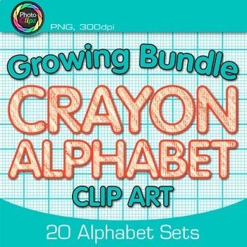 CRAYON ALPHABET CLIP ART GROWING BUNDLE {Classroom Decor &