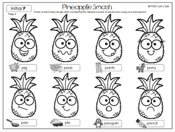 Pineapple Smash Play Dough Mats
