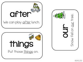 Sight Word Fluency Flashcards (Winter)