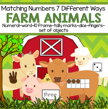 FARM ANIMALS Matching Numbers 7 Different Ways